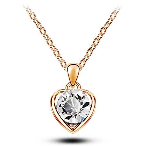 [Next-Fri Korean Crystal Pendant Necklace Women Alloy Pendant Lady Jewelry(Crystal-gold)] (Gypsy Costume Couple)