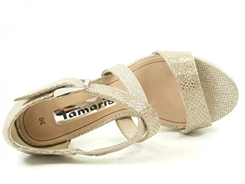 Tamaris 1-28041-36 Damen Plateau Sandalen Sandaletten, Schuhgröße:39;Farbe:Silber