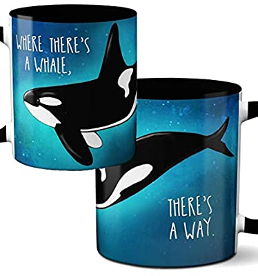 Orca Whale Way Mug by Pithitude - One Single 11oz. Black Coffee Cup