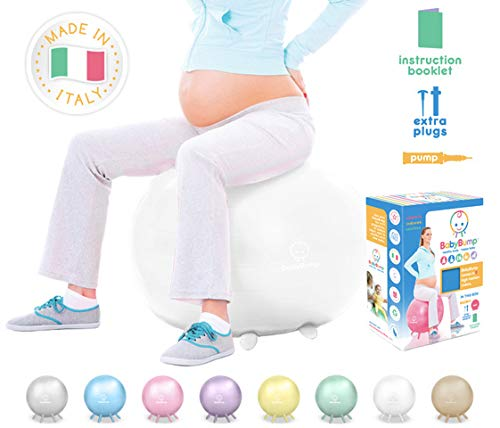 Baby Bump Birth Ball with Base Legs - Stability/Balance/Stand - Anti-burst - Pump - Exercise during Pregnancy - Prenatal Fitness - Induces Labor - Soothes Babies - Yoga Moms - Cute Practical Best Baby Shower Gift - 65 cm - Pearl White