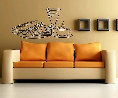 Wall Art Vinyl Sticker Decal Mural Kitchen Food Table Dinner Drinks Sub ()