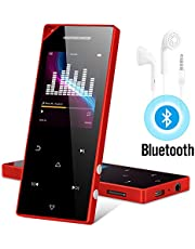 RUIZU D05 Mp3 Player with Bluetooth, Music Player with FM Radio, Built-in Speaker, Heavy Metal Touch Button, 80hrs Playback, 128GB Expandable Red