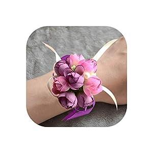 1Pcs Artificial Rose Wrist Flower Silk Ribbon Corsage Hand Flower Bride Bridesmaid Flower for Wedding Party Christmas Decor 3