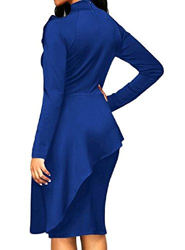 Long Women's Comfy As1 Knee Dress Bodycon Bow Length Sleeve Knot Mid d5rxBqwr