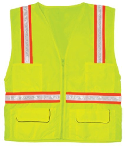 - ML Kishigo 1092 Polyester Economy Multi-Pocket Surveyors Vest, Medium, Lime by ML Kishigo
