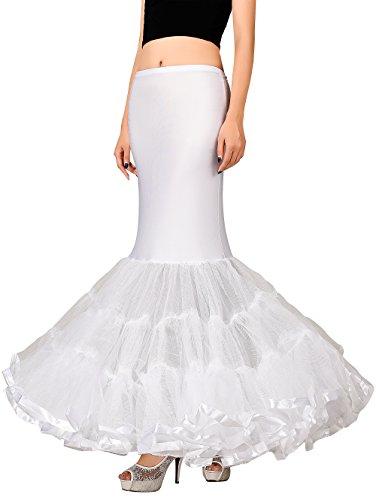 Edith qi Petticoat Enagua 3/4/6 Aros, Largo Miriñaque, Crinolina Vestido de Novia, Aros Ajustable, Un tamaño, Conveniente para el tamaño XS-XXL Sirena Blanca