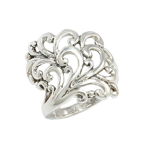 Sterling Silver Wide Filigree Ring Size 9
