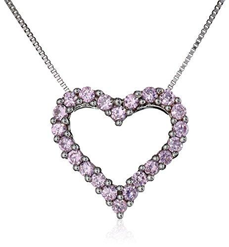 Diamonluxe Heart (Sterling Silver Pink Cubic Zirconia Heart Pendant Necklace,)