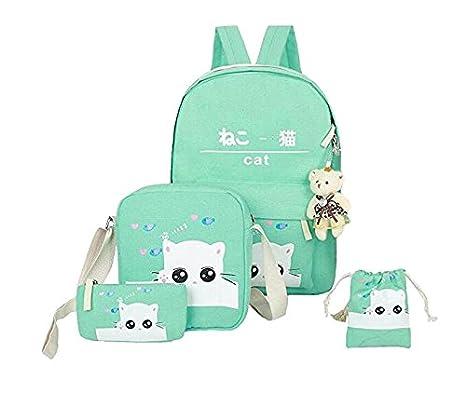 Amazon.com | Weilong Teens School Backpack Set Canvas Girls School Bags, Bookbags Set of 5 (Cat, Gray) | Kids Backpacks