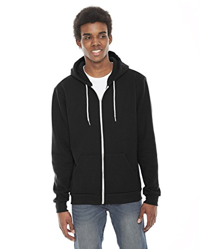 American Apparel Unisex Flex Fleece Zip Hoodie Black XXL (Flex Zip Fit Full Hoodie)