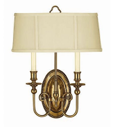 - Hinkley 3610BB, Oxford Candle Wall Sconce Lighting, 2 Light, 120 Total Watts, Brass