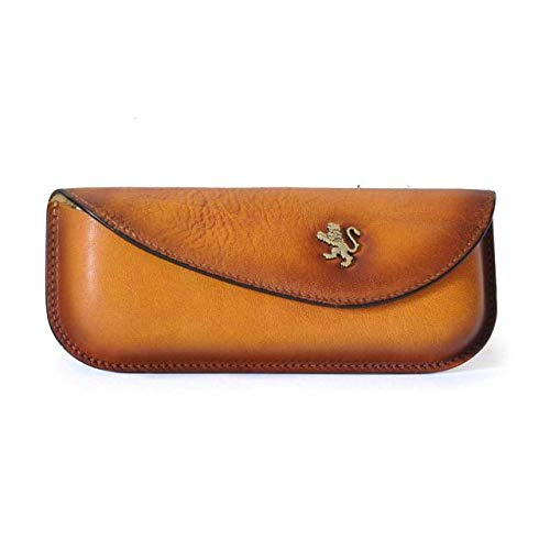 Pratesi Italian Leather Personalized Custom Engraving Eyeglass Sunglasses Case Pouch in cow leather Bruce Collection, Cognac