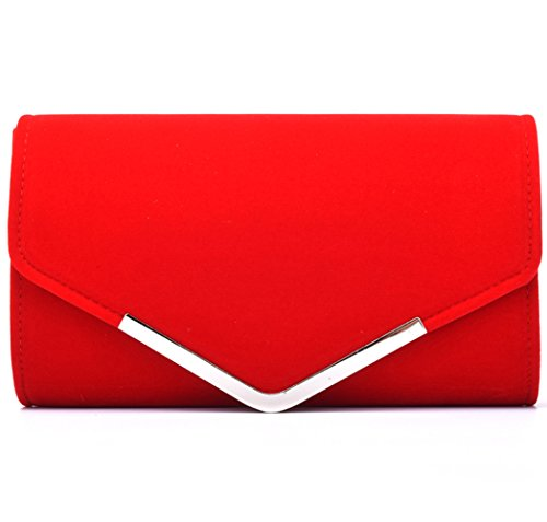 U-Story Womens Velvet Bridal Clutch Evening Prom Wedding Shoulder Chain Bag Handbag (Red)