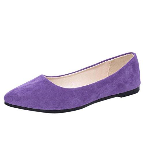 Binying Mashiaoyi Femmes Occasionnels Bouche Peu Profonde Pompes Plates Violet