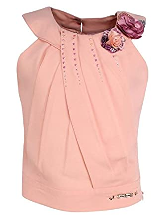 9aa2f2e568 Image Unavailable. Image not available for. Colour  Cutecumber Girls  Georgette Embellished Peach Sleeveless ...