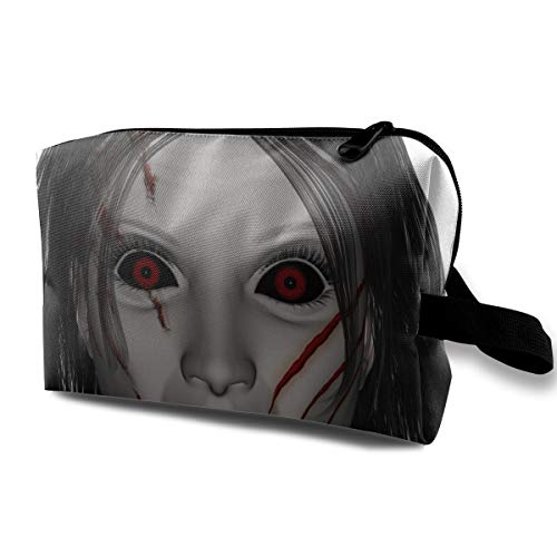 Cool Halloween Red Eye Scars Red Lips Undead Lady Multi-function Travel Makeup Toiletry Coin Bag -