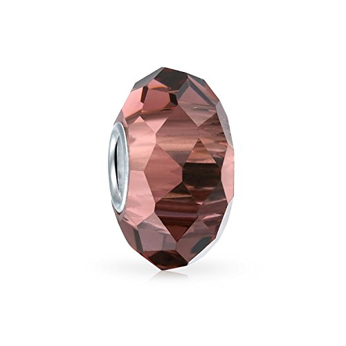 - Pale Pink Faceted Crystal Simulated Alexandrite glass Charm Bead .925 Sterling silver