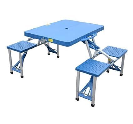 Tavolo Da Pic Nic Richiudibile.Homcom Tavolo Da Campeggio Picnic In Alluminio Con 4 Sedie Richiudibile A Valigetta Azzurro