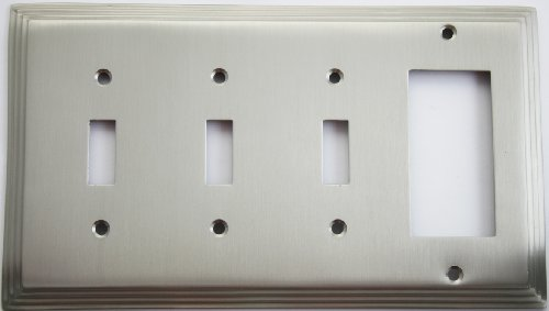 (Satin Nickel Deco Step Style Four Gang Wall Plate - Three Toggle Switches and One GFI/Rocker Opening)