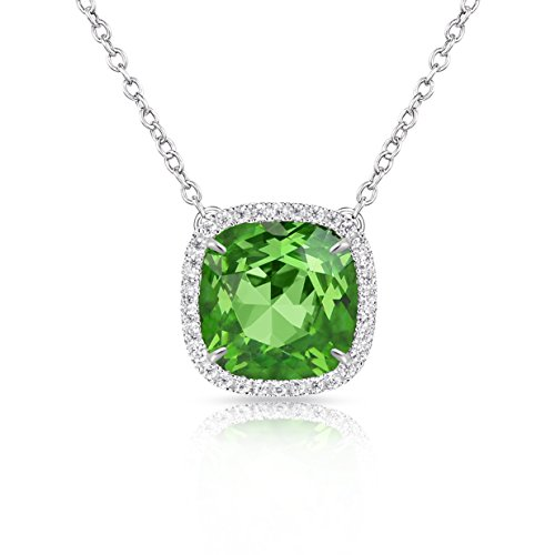 Alantyer Birthstone Necklace Made with Square Swarovski Crystal for Women and Girls,Peridot (August Birthstone)