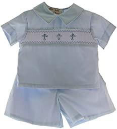 Boys Christening Short Set Outfit with Smocked Crosses (9M)