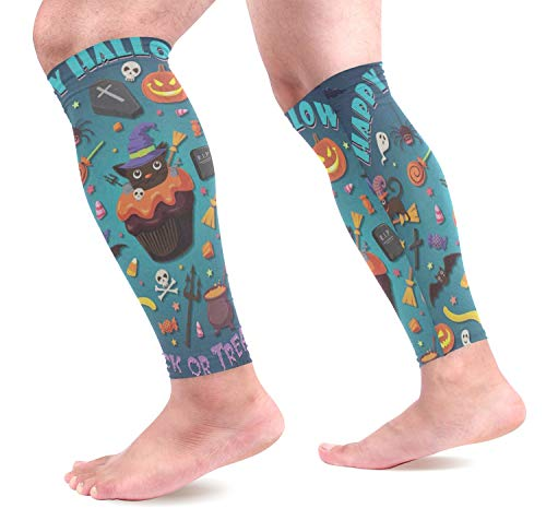 Leg Sleeve Vintage Halloween with Cupcake Compression Socks Support Non Slip Calf Sleeves - Improve Circulation for Shin Splint, Calf Pain Recovery, Running, Cycling, Travel, Sports 1 Pair