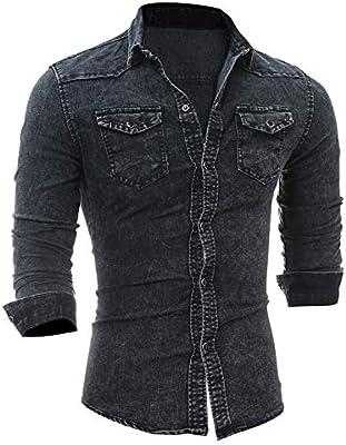 Chengzuoqing Camisas Casuales para Hombres Camisa Vaquera clásica de Manga Larga, Gris Jaspeado sólido con Bolsillos para Hombres para Luna de Miel (Color : Navy Gray, tamaño : XXL): Amazon.es: Hogar