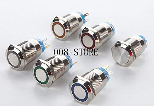 19mm metal button switch with lamp, self lock waterproof ring type luminous power source, car refitting angel eyes - (Color: Blue, Voltage: 48v)