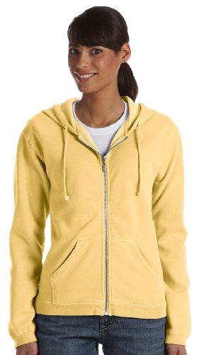 Ladies' Pigment Dyed Full-Zip Hooded Sweatshirt - Butter C1598 (Pigment Dyed Cotton Full Zip)