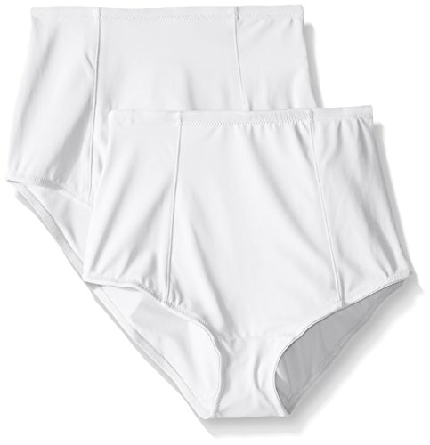 Ellen Tracy Women's Classic Comfort Brief with Extra Tummy Hold, White, Large (Pack of 2)