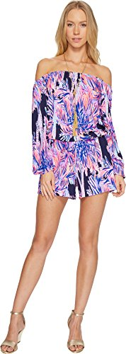 Lilly Pulitzer Women's Lana Romper Bright Navy Palms Up XX-Small by Lilly Pulitzer