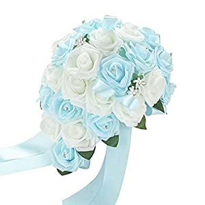 Acamifashion Crystal Roses Pearl Bridesmaid Wedding Bouquet Bridal Artificial Silk Flowers (White & Light blue) 20