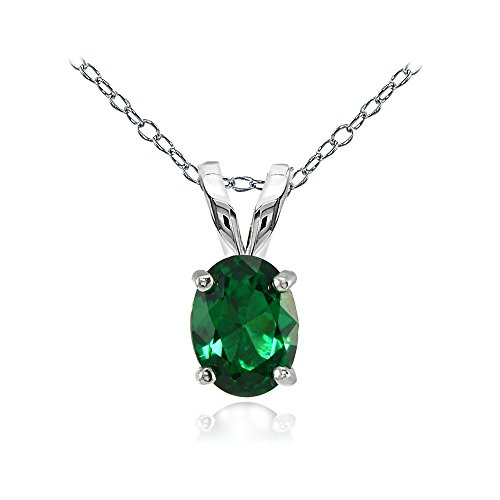 Sterling Silver Created Emerald 8x6mm Oval Solitaire Necklace