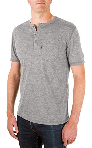 Woolly Clothing Men's Merino Wool Henley Tee Shirt - Everyday Weight - Wicking Breathable Anti-Odor L Gry