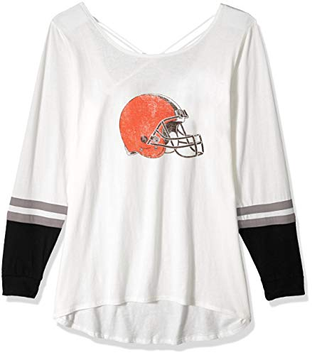(NFL Cleveland Browns Female OTS Scoop Back Long sleeve Tee Distressed, Sandstone, X-Large)