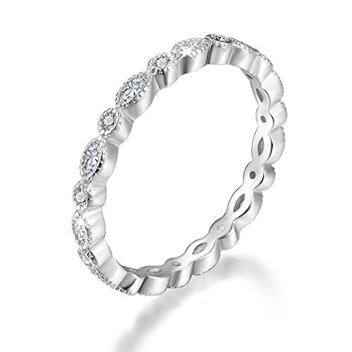 Esberry 18K Gold Plating 925 Sterling Silver Cubic Zirconia Stackable Rings CZ Simulated Diamond Eternity Ring Engagement Wedding Bands for Women (White Gold, 5.5)