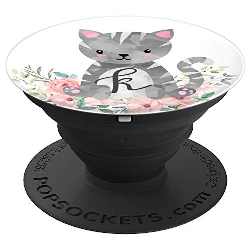 Gray Cat Cute Kitty Pink Flowers Monogram Initial Letter K - PopSockets Grip and Stand for Phones and Tablets -