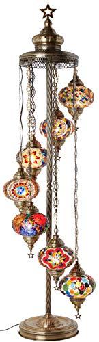DEMMEX - 7 Big Globes Turkish Moroccan Mosaic Floor Lamp Light, Bohemian Boho Tiffany Mosaic Floor Lamp with North American Plug & Socket, 55