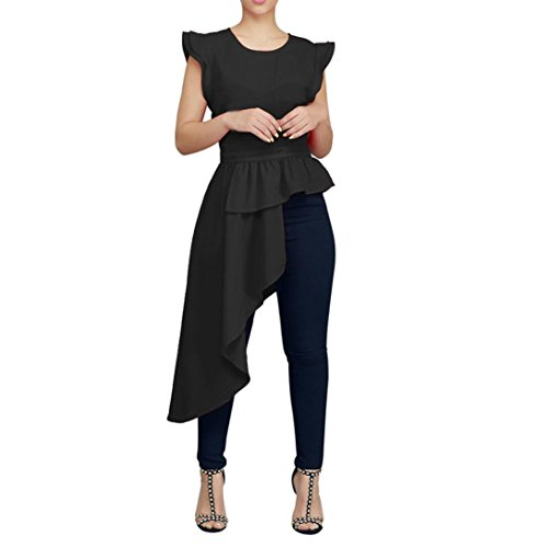 Mikkar Women Tops Loose Blouse O-Neck Fungus Sleeve Irregular Pure Color Tighten by Mikkar