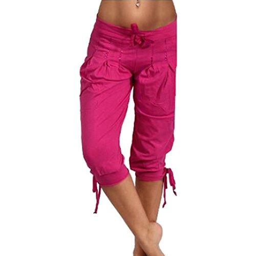 Yoga S 3 kootk Di Grandi Pantaloni Pantaloni Vita Donna di 5XL Cintura Pantaloni 4 Estivi Coulisse Alta Rosa Casual Dimensioni Harem qtUOt