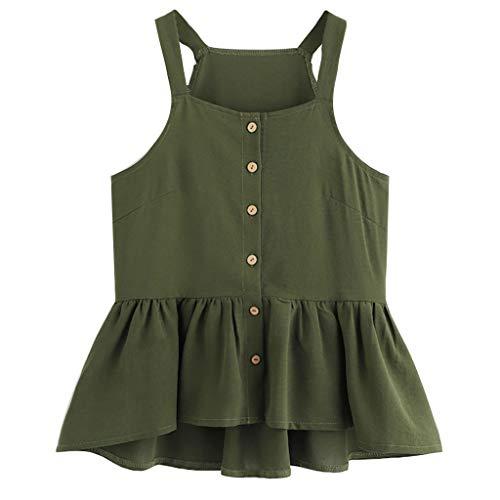WUAI Womens Sexy Camis Sleeveless Crop Solid Slim Fit Ruffle Hem Tank Tops Summer Hot Dress (Green,Medium) ()