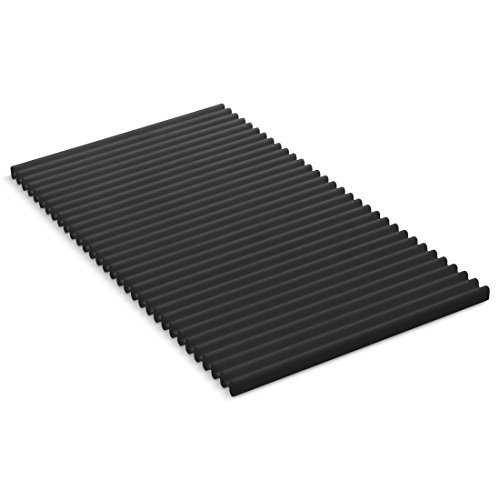KOHLER Storable Silicone Dish Drying Mat or Trivet 7 x 11.8, Heat Resistant up to 500 Degrees F, Charcoal