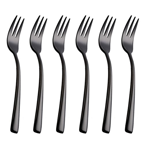 Onlycooker 6 Piece Black Cake Fork 5.8-inch Stainless Steel Oyster Cocktail Forks Set for 6 Silverware Sets Flatware Dinnerware Mirror Polished Dishwasher Safe ()