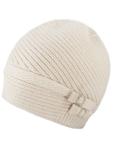 Dahlia Women's Angora Beanie Hat Rhinestone Square Double Bow Dual Layer Cream