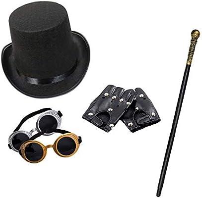 Robelli Unisex Steampunk Disfraz Juego (Sombrero de Copa, Gafas de ...
