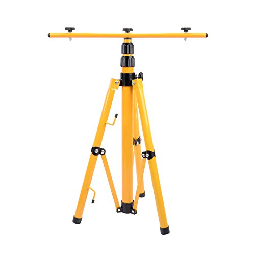 uxcell Lighting Tripod Stand For LED Flood Light Adjustable Tripod Stand Camp Construction Site Work Lighting with double Head Convertible Tripod