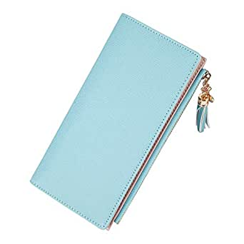 Wiwsi Female Candy Tassel Coin Card Clutch Bag PU Leather Embossed Zipper Wallet(Blue)