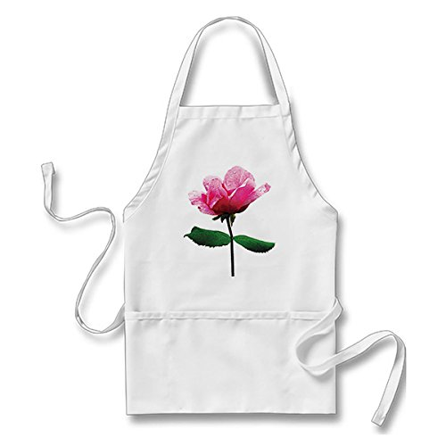 Starings Kitchen Apron Pink Rose with Dew Apron for Men Women with Pockets, White from Starings