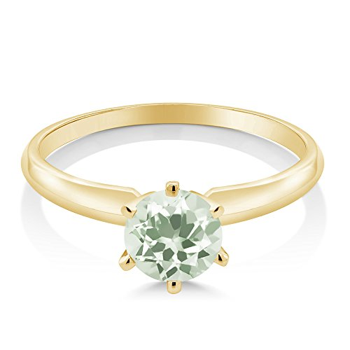 0.95 Ct Green Amethyst 14K Yellow Gold Engagement Solitaire Ring (Available in size 5, 6, 7, 8, 9)