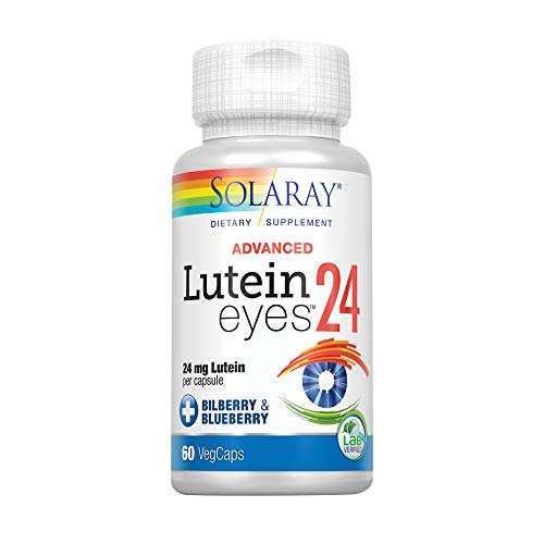 Solaray Advanced Lutein Eyes, 24mg | Eye & Macular Health Support Supplement w/ Naturally Occurring Lutein and Zeaxanthin | Non-GMO | Vegan | 60 Count